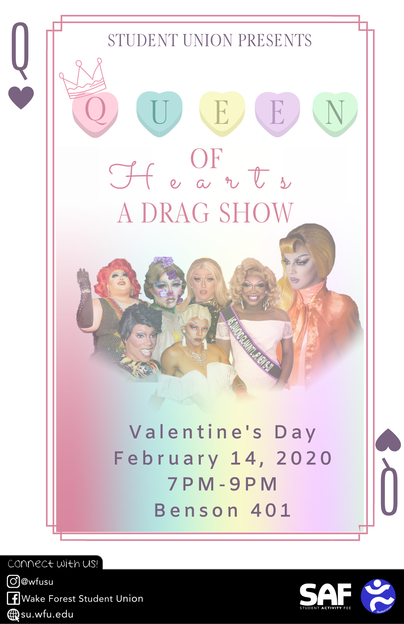 Flyer for the Student Union's annual Drag Show
